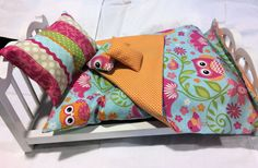 American Girl Doll Bedding 5 pc Owl doll by 2KrazyLadiesCrafts