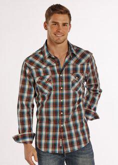 Rock   Roll Cowboy Men s Long Sleeve Brushed Flannel Western Shirt B2S8401 7225b8be4