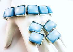 Designer Moon Glow Bracelet Earring Set Lucite by EclecticVintager