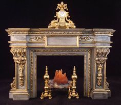 frank cresente fireplace - Direction I am headed in - Gallery - The Greenleaf Miniature Community Tiny Furniture, Miniature Furniture, Dollhouse Furniture, Miniature Rooms, Miniature Houses, Georgian Fireplaces, Kim House, Fireplace Design, Fireplace Set