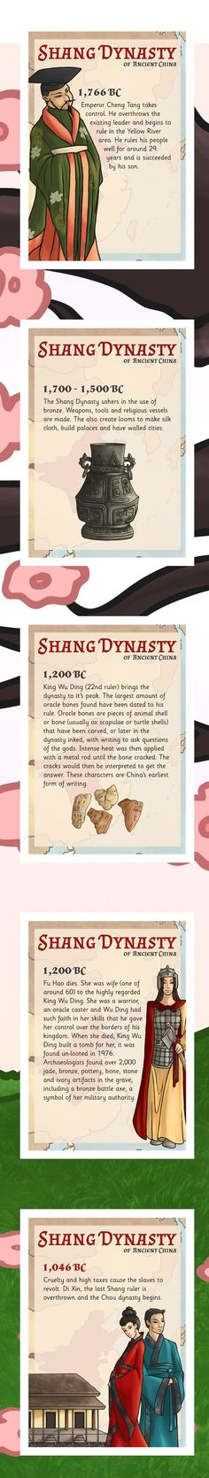 This is one of the most interesting pieces that shows a simple but rather complete view of the Shang Dynasty. Starting with Shang Tang, the first ruler, to Di Xin, the last ruler of the Shang Dynasty. The Shang Dynasty ruled from 1,766 BC to 1,046, approximately 700 years.
