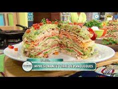 Torre de panqueques de pollo y guacamole - Recetas – Cocineros Argentinos Steamed Buns, Wrap Sandwiches, Guacamole, Crepes, Snacks, Meat, Chicken, Ethnic Recipes, Tortillas