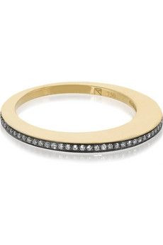 Noor Fares Crescent Moon 18-karat gold diamond ring | NET-A-PORTER