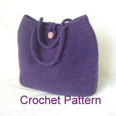How to make this Easy Crochet Felted Bag Pattern Tutorial. You can download this tutorial shortly after you paid. ** Perfect BASIC tote bag pattern. *** Skill level : EASY beginner. Use : Your washing machine to felt ( to shrink). Need : Wool Yarn & small crochet hook ( size J 6mm or similar). Optional: Non-Wool Yarn can be used to make this into a regular crocheted bag. More Info: ♥ Perfect BASIC tote bag pattern. Simple, easy & a true classic that never goes out of style. I like to...