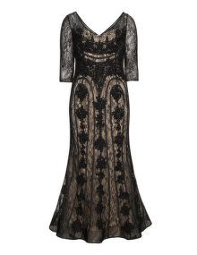Viviana Embroidered lace evening gown  in Black / Beige