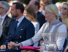Crown Prince Haakon of Norway, Crown Princess Mette Marit of Norway attend the unveiling of a statue of King Olav V at the City Hall Square on June 7, 2015 in Oslo, Norway.