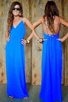 Blue Spaghetti Strap Maxi Dress