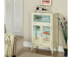 Coast to Coast 78688 Arcadia Two Door Drop Lid Bar Cabinet in Textured White Beach Scene Painting, Bungalow Decor, Beach Bungalows, At Home Furniture Store, Beach Bars, Coastal Cottage, Jewelry Armoire, Painting Cabinets, Quality Furniture