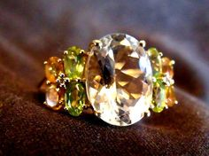 10k White Topaz Ring Size 8.5 Yellow Gold Ring by EstatesInTime