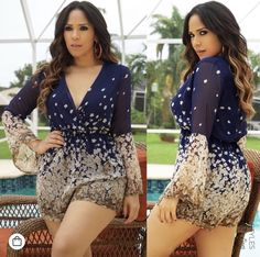 58b5747818d Reagan Floral V-neck 3 4 Sleeve Romper Playsuit -Navy Online Fashion Stores
