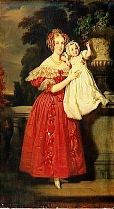 Louise d'Orléans holds her son Louis Philippe who died at the age of nine months in 1834 in this portrait by Henri Decaisne.