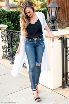 Fashion outfit ideas for spring season. Jeans, black cami with lace, Gucci Belt and White kimono. Angela Lanter, Hello Gorgeous #AngelaLanter #kimono #OOTD #Springstyle #springoutfit #classicstyle #timeless #fashionista #fashionblogger Latest Fashion Trends LATEST FASHION TRENDS | IN.PINTEREST.COM ENTERTAINMENT #EDUCRATSWEB