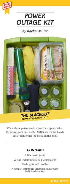minus the oscar meyer sandwich meat, this is a good idea. Survival Prepping, Emergency Preparedness, Emergency Kits, Power Outage Kit, Camping Info, In Case Of Emergency, Food Storage, Rachel Miller, Good To Know