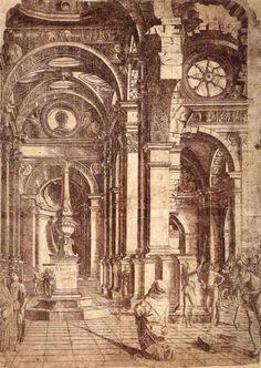 BRAMANTE, Donato  Interior of a Church  c. 1480  Engraving  Pinacoteca di Brera, Milan