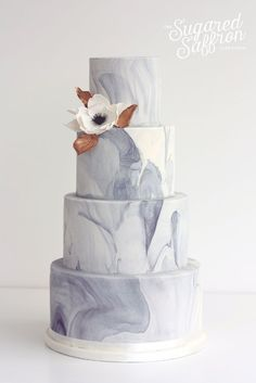 4 layer grey and white marble cake