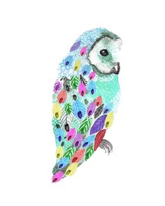 colourful owl (artist unknown)