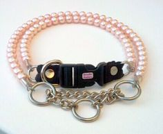 Pink Pearl Dog CollarCat collar Buckle Collars by BeadieBabiez