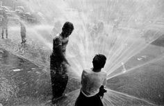 Children Playing in the Spray of an Open Fire Hydrant to Escape the Ongoing Heat Wave.I remember! Open Fires, Urban Life, Life Magazine, Back In The Day, Summer Fun, Summer Days, Summer Time, Black And White Photography, Short Film