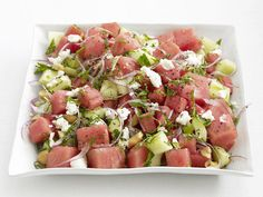 Easy, delicious and healthy Watermelon-Cucumber Salad recipe from SparkRecipes. See our top-rated recipes for Watermelon-Cucumber Salad. Cooked Cucumber, Cucumber Recipes, Salad Recipes, Dessert Recipes, Watermelon Salad, Cucumber Salad, Watermelon Healthy, Mint Salad, Gourmet