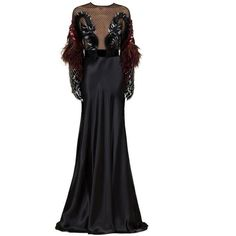 Preowned Gucci Runway Black Heavens Bird Embroidered Gown It. 40 ($5,995) ❤ liked on Polyvore featuring dresses, gowns, black, evening gowns, embroidery dress, pre owned evening gowns, gucci dress, sequined dresses and sequin evening dresses