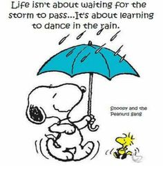 Memes, Gang, and Snoopy: Life isn't about waiting for the Storm to pass.It's about learning to dance in the rain. Snoopy and the Peanuts gang Peanuts Cartoon, Peanuts Snoopy, Peanuts Comics, Disney Fantasy, Snoopy Love, Snoopy And Woodstock, Peanuts Characters, Cartoon Characters, Snoopy Pictures