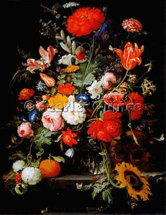 Scarlet Quince cross stitch chart: Opium Poppy, Sunflower and Other Flowers in a Glass Vase - Abraham Mignon