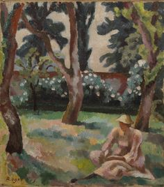 roger eliot fry(1866-1934), orchard, woman seated in a garden, 1912-14. oil on canvas, 35.6 x 30.5 cm. © the samuel courtauld trust, the courtauld gallery, london, uk  http://www.artandarchitecture.org.uk/images/gallery/9a2ecad8.html