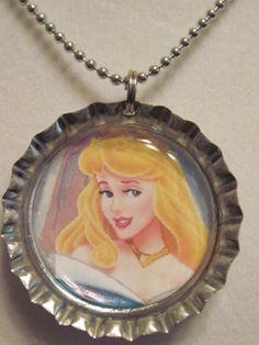 Disney Princess Aurora Sleeping Beauty bottle cap necklace