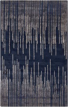 Naya Modern Navy Taupe Wool Area Rug (L 96 X W 60)