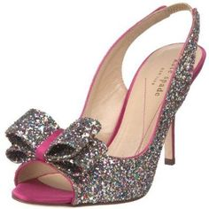 Kate Spade slingback heels in silver and pink