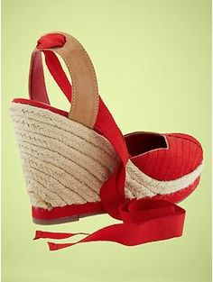 a4baa89f979 GAP Grosgrain ribbon wedge espadrilles