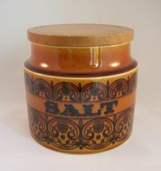 Vintage Hornsea Pottery Scroll Brown Salt Canister Jar Pot Retro | eBay