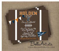 Football Themed Invitation for Boy's Birthday, Touchdown Invite. $15.00, via Etsy.