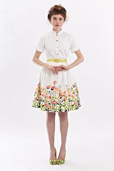 SALE - White Dress with Floral Print by Mrs Pomeranz