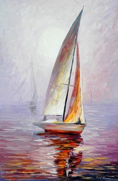 Sailboat Wall Art - Dream Yacht — Palette Knife Sailing Oil Painting On Canvas By Leonid Afremov. Size: X Inches cm x 90 cm) Segelboot Wandkunst Traumyacht-Spachtel Segeln Ölgemälde auf. Oil Painting On Canvas, Artist Painting, Watercolor Paintings, Canvas Art, Knife Painting, Oil Paintings, Pinterest Pinturas, Sailboat Painting, Painting Clouds