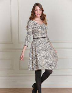 Pepperberry Jacquard Jersey Dress in Cream/Black Black Cream, Work Fashion, My Wardrobe, Skater Dress, My Style, Wedding Pins, Outfits, Clothes, Summer 2014