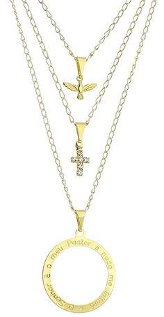 Gargantilha tripla folheada a ouro c/ cruz de strass, Divino Espírito Santo e mandala c/ parte do Salmo 23