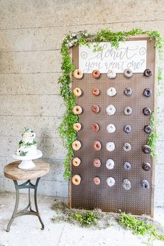 donut bar using a pegboard and long hooks