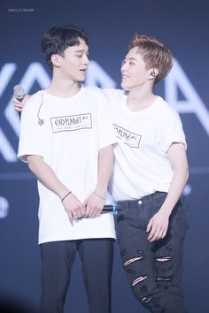 Chen, Xiumin - 160320 Exoplanet - The EXO'luXion [dot] Credit: Vanilla Creamy. Chen the type to be holding his own ship banner Kaisoo, Chanyeol Baekhyun, Chanbaek, Exo Chen, Exo Couple, Exo Luxion, Kim Minseok, Korean K Pop, Wattpad