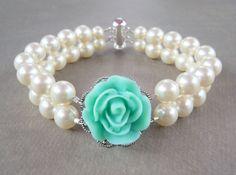 something tiffany blue double strand pearl bracelet. $42.00, via Etsy.