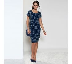 Women'S short sleeve polka dot dress with rounded neckline Sexy Dresses, Short Sleeve Dresses, Short Noir, Formal Dresses For Teens, Pink Gowns, Dot Dress, White Lace, Polka Dots, Neckline