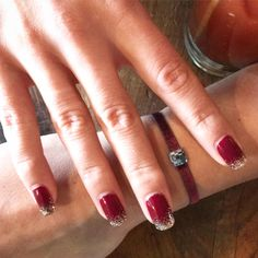 Holiday Manicure Inspo - Red Velvet Sparkle with deep red and silvery-gold glitter gradation - an elegant glam way to celebrate the season!