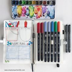 Had fun colouring in my weekly spreads for July … Bullet Journal June, Bullet Journal Spread, Bullet Journal Layout, Joseph Zbukvic, Weekly Spread, Marker Pen, Brush Pen, Ballpoint Pen, Scribble