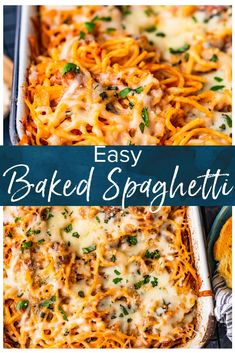 Easy Baked Spaghetti Recipe - The Cookie Rookie® (VIDEO!) Baked Spaghetti is a cheesy, tasty, easy dinner for any night of the week. This super easy baked spaghetti recipe is something the whole family is sure to love! Easy Baked Spaghetti, Baked Spaghetti Casserole, Spaghetti Sauce, Cheesy Spaghetti, Pasta Casserole, Recipe For Baked Spaghetti, Spagetti Bake Recipe, Baked Spaghetti Recipes, Italian Foods