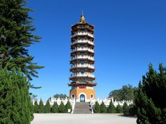 The Ci'en Pagoda on a hilltop high above Sun Moon Lake, Taiwan, was built in 1971 by former President Chiang Kai-shek in memory of his mother. Sun Moon Lake, Taiwan Travel, Former President, Hong Kong, Asia, Travelling, Building, Photography, Beautiful