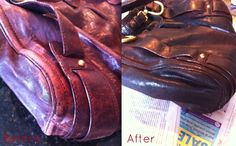 Customer photo of a leather purse before and after treatment with Leather  Honey. Scuffs and b7daebe512