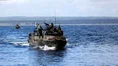 A Swedish amphibious assault vehicle approaches the Polish ship participating in BALTOPS 2015 June 9. [4.780px  2.689px]