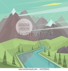 Beautiful summer picturesque mountain landscape with valley, winding mountain river, trees and snowy peaks, in the fashionable flat style and square ratio. Vector illustration