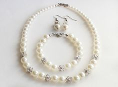 Bridesmaid jewelry set ivory white pearl necklace bracelet and earrings with rhinestones bridal jewelry wedding gift on Etsy, $27.00