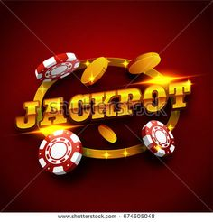 Golden Jackpot text with 3D Poker Chips on marquee lights frame. Creative glowing background for Casino concept.